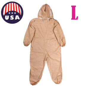 Professional Cotton Full Body Beekeeping Bee Keeping Suit W Veil Hood L Us A