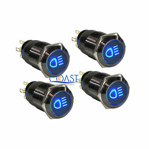 4x Durable 19mm Car Push Black Latching Button Blue Led Driving Light Switch