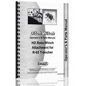 New Ditch Witch Hd Roto witch Attachment Trencher Operators Parts Manual