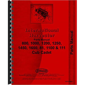 New Tractor Parts Manual For International Harvester Cub Cadet 1250 Tractor
