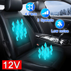 4 Fan Cooling Car Seat Cushion Cover Air Ventilated Fan Conditioned Cooler Pad