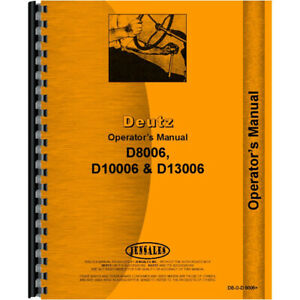 Operators Manual For Deutz allis D8006 Tractor