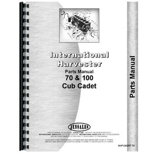 New Tractor Parts Manual For International Harvester Cub Cadet 70 Lawn Tractor