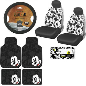 12pc Disney Mickey Mouse Car Truck Floor Mats Seat Covers Steering Wheel Cover