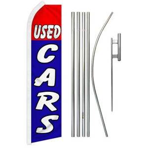 Used Cars Swooper Advertising Feather Flutter Flag Pole Kit Red blue Dealership