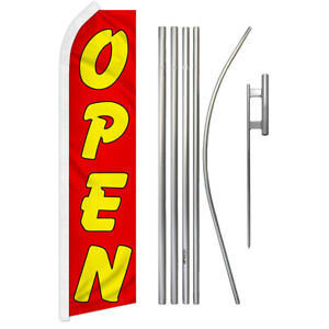 Open Swooper Advertising Feather Flutter Flag Pole Kit Red yellow Now Open Now