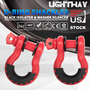 2pcs Red 3 4 D Ring Bow Shackle 10500lbs Capacity W 2 Set Black Isolator Washer