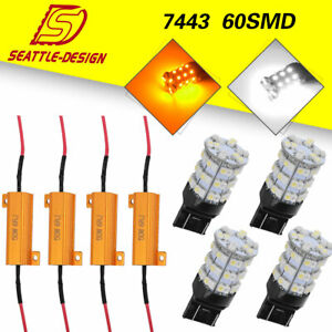 4x 7443 7440 Switchback White Amber 60smd Led Turn Signal Light Bulbs Resistors