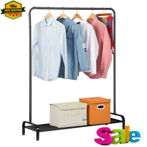 Metal Free Standing Commercial Grade Clothing Garment Rack With Storage Shelf Us