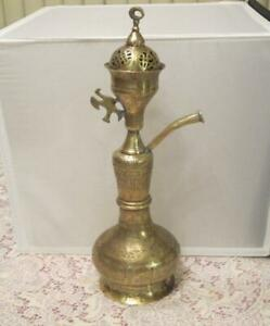 Antique Islamic Ottoman Etched Calligraphic Hookah Lamp 18 H