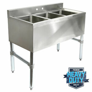 Stainless Steel Commercial Kitchen Bar Sink Three 3 Compartment