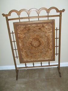 Antique Wood Stick And Ball Victorian Fireplace Screen
