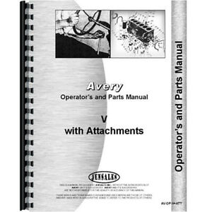 Operators Parts Manual For Avery V Plow and Attachments
