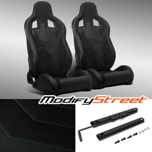 2 X Black Pvc Leather Left right Reclinable Sport Racing Bucket Seats Slider