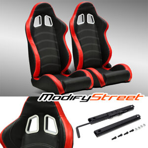 2 X Black red Pvc Leather white Stitch Left right Racing Bucket Seats Slider