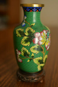 Chinese Antique Brass Cloisonne Enamel Vase On Carved Wood Base