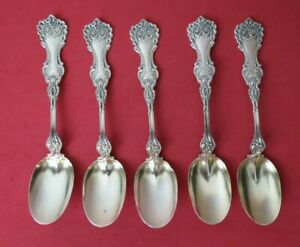 Rare Set Of 5 Whiting Pompadour 1898 Sterling Silver Ice Cream Spoons 5 1 4