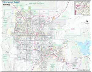 Greater Las Vegas Henderson Nv Detailed Region Wall Map With Zip Codes