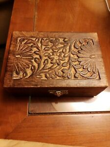 Vintage Hand Carved Wooden Box Made In India Rectangle Floral Inlay Jewelry Box