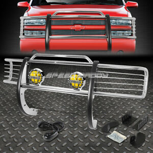 Chrome Brush Grill Guard round Amber Fog Light For 88 99 C k C10 Suburban Tahoe