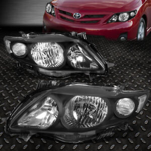 For 2009 2010 Toyota Corolla Pair Black Housing Clear Corner Headlight Lamp Set
