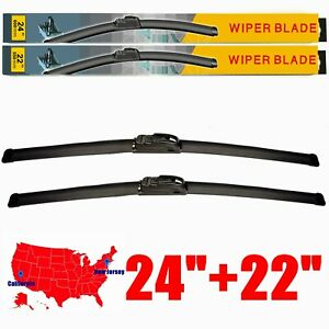 24 22 All Season Front Windshield Wiper Blades Fit For U J Hook Set Of 2