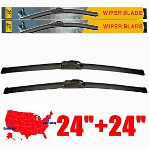 24 24 All Season Front Windshield Wiper Blades Fit For U J Hook Set Of 2