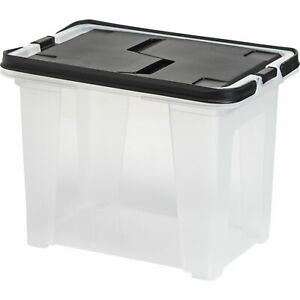 Iris Letter Size Portable Wing Lid File Box With Handles Black Letter