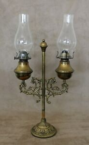 19th C Victorian Brass Oil Kerosene Double Student Desk Adjustable Lamp Dolphins