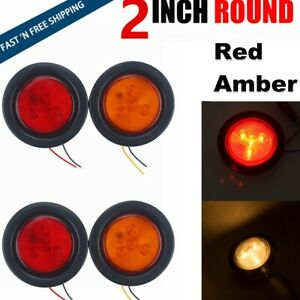 2 Inch Red Amber Round Led Stop Turn Brake Tail Light Truck Trailer Qty 4