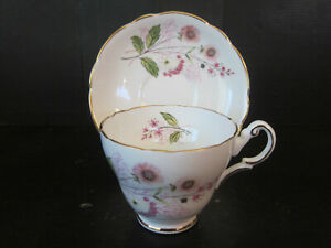 Vtg Regency Bone China Cup Saucer Hand Painted Pink Floral Pattern Made England