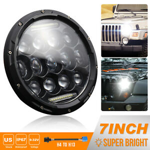 7 Round 105w Led Headlights Hi low Sealed Beam For Jeep Wrangler Tj Jk Black