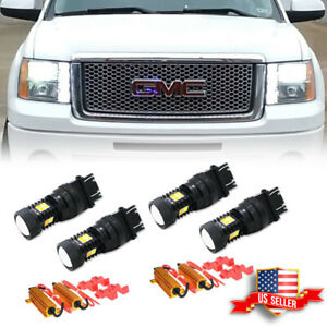 4x White amber Drl Turn Signal Parking Light Bulbs For 2000 2014 Gmc Sierra 1500