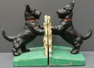 Vintage Hubley Cast Iron Scottie Dog Flower Fence Art Statue Bookends 430 Usa
