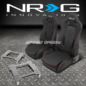 Nrg Black Reclinable Racing Seats stainless Steel Bracket For Civic Fg2 Fa1 Fd2