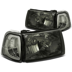 Fit 2001 2011 Ford Ranger Smoked Housing Clear Corner Bumper Headlight Lamp Set