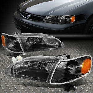 For 98 00 Toyota Corolla Black Housing Amber Corner Headlight Replacement Lamps