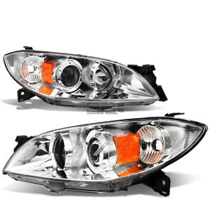Fit 2004 2009 Mazda 3 Chrome Housing Amber Side Euro Projector Headlight Lamp