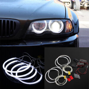 2x Angel Eye Halo Rings 131 146mm Non Projector Headlight White For Bmw R E46