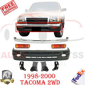Front Bumper Cover Chrome Trim Support Bracket Park Light For 1998 00 Tacoma 2wd