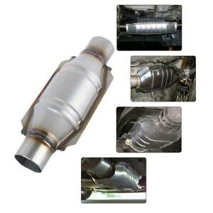 2 25 Circle Catalytic Converter High Flow Stainless Steel Metallic Universal