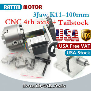 usa 3 Jaw Chuck K11 100mm 4th Axis Cnc Dividing Head rotary Axis 65mm Tailstock