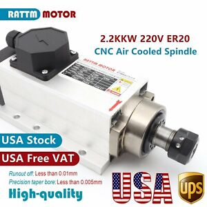 us 2 2kw Square Air Cooling Spindle Motor Er20 4bearing 24000rpm For Cnc Router