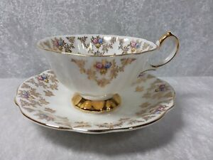 Vintage Queen Anne Bone China Gold Floral Cup Saucer England