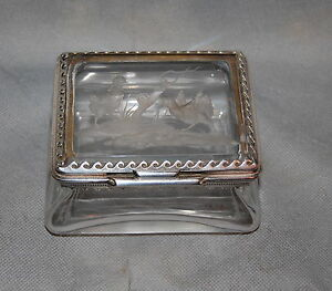 English Sterling Silver Mounted Etched Crystal Box Alfred Clark London 1899