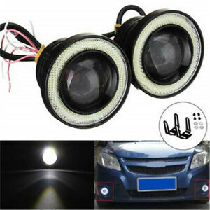2 5 Car Led Fog Light With Lens Halo Angel Eyes Rings 30w High Power Universal