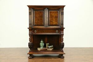 Renaissance Antique Carved Walnut Sideboard China Or Bar Cabinet Colby 31237