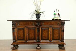 Renaissance Antique Carved Walnut Sideboard Server Or Buffet Colby 31236