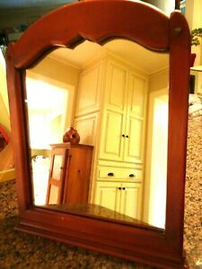 Vintage Maple Framed Table Top Mirror 14 X 17 Colonial Rustic Farmhouse