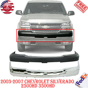 Chrome Steel Front Bumper Cover Kit For 2003 2007 Chevy Silverado 2500hd 3500